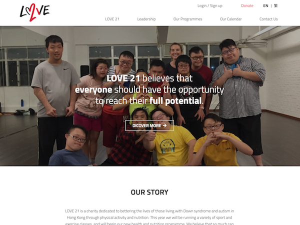 Love 21 Foundation homepage